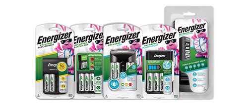 five packages of energizer recharge battery chargers